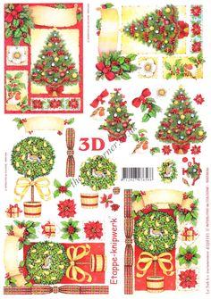 Christmas Trees 3D Decoupage Sheet Card Making Paper Crafts CUTTING REQ • EUR 1,16 - PicClick FR