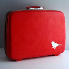 Red Hand Painted Vintage Suitcase Perfect for Travel & Fun, by BlueBernice