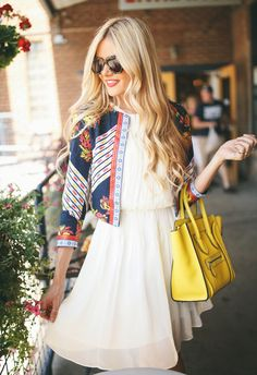 Simple white dress with patterned jacket