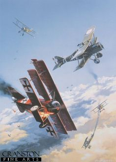Knights of the Sky by Nicolas Trudgian. The dramatic scene depicts an aerial dog-fight between Sopwith Camels and SE5A fighters of the Royal Flying Corps, and the bright red planes of Baron von Richthofens JG1 fighter wing.