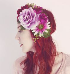 Plum and Lavender Bouquet Flower Crown