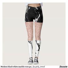 Modern black white marble rose gold color block leggings
