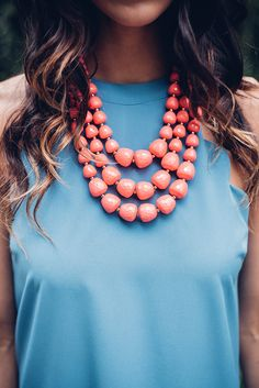 Triple Layered Coral Bubble Necklace Set - Single Thread Boutique, $20.00 #triple #layered #coral #bubble #necklace #set #bold #chunky #statement #textured #beads #drop #earrings #accessory #cute #trendy #singlethreadbtq #shopstb #boutique