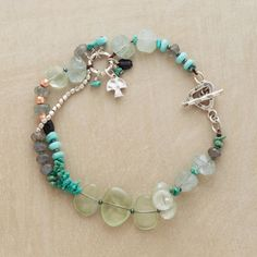 "SAVASANA BRACELET -- Cool and calming, our partly doubled bracelet combines turquoise, prehnite, labradorite, moss aquamarine and green tourmaline gemstones with silver beads. Sterling toggle clasp. Exclusive. Natural stones will vary in size and color. Approx. 7-1/2""L."