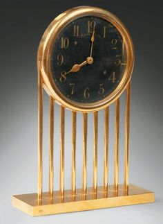 Art Decó Gold Plated Circular Table Clock by Paul Iribe, France
