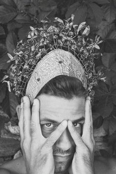 Photo by Filep Motwary Themed Photography, Old Photography, Black White Art, Headpieces, Crowns, Fiber Art, Dressing, Menswear, Faces