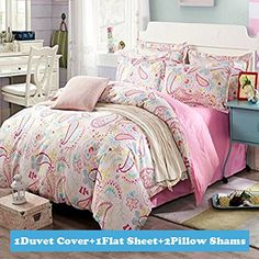 Ttmall Twin Full Queen Size 100%cotton 4-pieces Pink Blue...