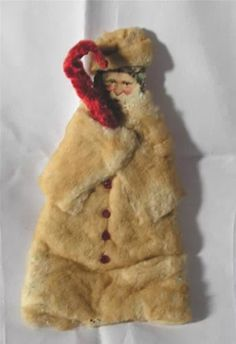 Antique vtg 1910 cotton batting, chenille victorian scrap folk art xmas santa