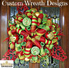 Lime and Red Festive Christmas Mesh Wreath by lilmaddydesigns