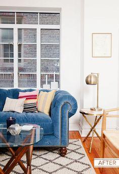 Blue Chesterfield sofa