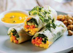 Summer Rolls with Mango Lime & Mint Dipping Sauce   Young and Raw