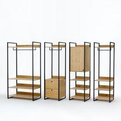 Le module 1 caisson fermé avec 1 porte et 1 étagère + 3 étagères, Hiba se fixe au mur, ou s'adapte aux autres modules du dressing Hiba. Il offre un espace de rangement optimal entre ses étagères et sa partie fermée. Descriptif du module caisson 1 porte / 1 étagère + 3 étagères :1/2 lingère fermée par 1 porte avec 1 étagère1/2 lingère ouverte avec 3 étagères.Caractéristiques module caisson 1 porte / 1 étagère + 3 étagères Hiba :Structure métal noir mat.Caissons et tab...