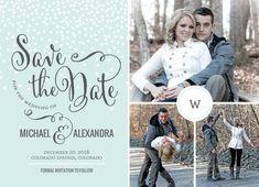 Blue Winter Snowfall Save The Date Announcement by PurpleTrail.com. #savethedate #savethedates #winter #snow #wedding