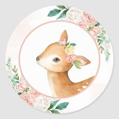 Forest Animals, Woodland Animals, Pregnancy Art, Forest Friends, Baby Deer, Woodland Baby, Letter Art, Round Stickers, Floral Watercolor