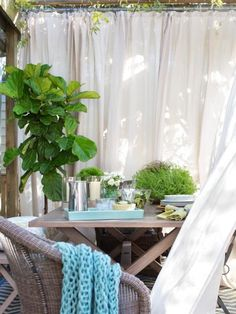 Create shade and privacy outdoors with panels, canvas, sheets or curtains for patio, porch, or backyard living decor inspiration
