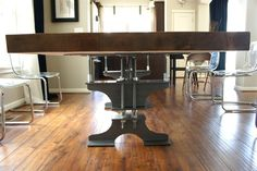 Now this is pretty sweet!  A diy table made of an I-beam.  Pretty Dubs: I-Beam Dining Table.