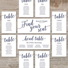 Wedding Seating Chart Template // DIY Seating Cards, Editable Seating Chart Printable // Navy Wedding Decor