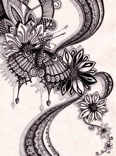 """Psychedelic Butterfly 2 ~ by Angela Porter Technical drawing pens and black ink on off-white parchment paper. """"This was a drawing that flowed from me as I explore the subject of butterflies. Inspiration for patterns has come from op-art, psychedelic art, and observation of the natural world and Romanesque architecture/sculpture."""""""