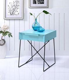 The Gualacao Light Blue End Table Offers A Contemporary Take On A Stylish  Retro Design, Ideal For Any Room! This End Table Features A Metal Top With  A ...