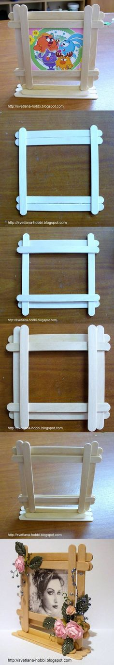 DIY Easy Popsicles Picture Frame DIY Easy Popsicles Picture Frame by diyforever - Bilderrahmen Popsicle Stick Crafts, Craft Stick Crafts, Easy Crafts, Diy And Crafts, Crafts For Kids, Popsicle Sticks, Craft Stick Projects, Diy Simple, Easy Diy