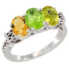 10K White Gold Natural Citrine, Peridot & Lemon Quartz Ring 3-Stone Oval 7x5 mm Diamond Accent, size 10, Women's