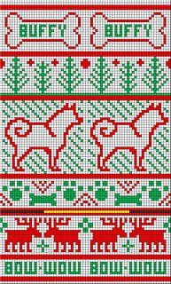 Ravelry: Buffy's Christmas Stocking pattern by Johanna Ward Knitted Christmas Stocking Patterns, Dog Christmas Stocking, Knitted Christmas Stockings, Christmas Knitting, Knitting Videos, Knitting Charts, Knitting Projects, Intarsia Patterns, Knitting Patterns