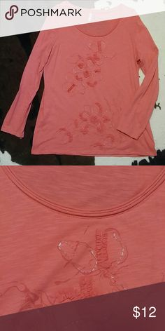 Beaded Plus size long sleeve Pinky coral colored long sleeved tee with bead and ribbon ruching detail. Size XXL but runs a bit tight, closer to an XL. Worn just a couple of times with dark wash jeans and got lots of compliments. Overall in perfect condition. Kiara Tops Tees - Long Sleeve