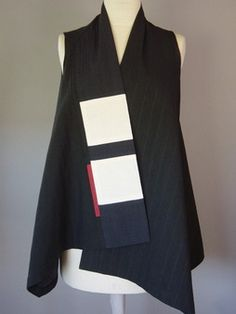 Wrapped Shoulder Vest in Black and White with Gold Tab