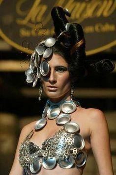 soda can and pop tab bra, necklace, and headpiece. Repurposed Fashion | Trashion | Refashion | Upcycled Fashion