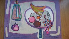 Luis Amer, Barcelona ( 1943 ). Título: Bodegón de frutas con sifón. Litografía sobre papel firmada a lápiz. Fechada en 2001.  Medidas: 54 x 70 cm. Ejemplar: 60/190. Precio: 60 €.