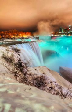 Frozen Niagara Falls at Night !!