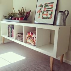Ikea hack: expedit bookcase with staibed legs from Bunnings makes for a lovely l. Ikea hack: expedit bookcase with staibed legs from Bunnings makes for a lovely low shelf. Zwei davon, Rücken an Rücken und eine Holz / Glas Platte darauf Ikea Kallax Shelf, Expedit Hack, Ikea Bookcase, Ikea Shelves Bedroom, Ikea Shelf Hack, Tv Ikea, Bookcase White, Low Bookcase, Ikea Bedroom
