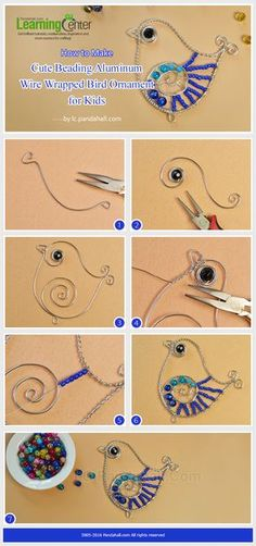 Cute craft for kids, this is about how to make cute beading aluminum wire wrappe. - Cute craft for kids, this is about how to make cute beading aluminum wire wrapped bird ornament for - Bird Crafts, Metal Crafts, Cute Crafts, Wire Ornaments, Bijoux Fil Aluminium, Wire Tutorials, Estilo Hippie, Wire Weaving, Beads And Wire