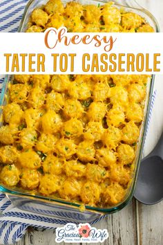 Classic cheesy Tater Tot Casserole is quick and easy to make, but packed with flavor. Made with ground beef, tater tots, cheese, corn, and a creamy gravy, it's comfort food at its finest! Cheesy Tater Tot Casserole, a.k.a. tater tot hotdish, is one of my favorites. It is sooo good, and the perfect chilly-weather, belly-warming, stick-to-ribs dish. | The Gracious Wife @thegraciouswife #tatertocasserole #familydinner #budgetrecipes #comfortfoodrecipes #fallrecipes #winterrecipes #thegracious