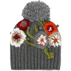 floral embroidery pompom beanie no pattern i just wanted the idea Wool Embroidery, Silk Ribbon Embroidery, Floral Embroidery, Embroidery Stitches, Embroidery Patterns, Knitting Patterns, Crochet Patterns, Embroidery Digitizing, Crochet Beanie