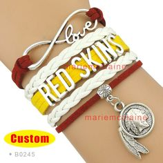 (10 Pieces/Lot) Infinity Love NFL Washington Redskins Football Team Bracelet Burgundy Gold White Custom Sports Drop Shipping(China (Mainland))