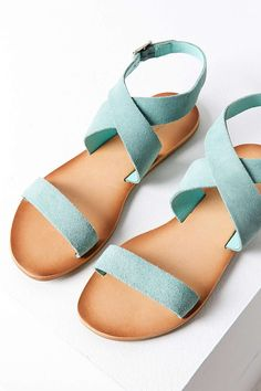 Suede Sandals in Mint