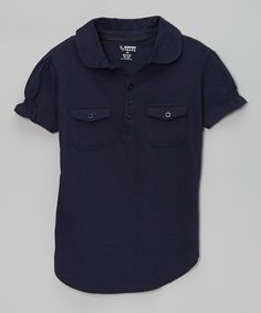 Love this Navy Pocket Polo - Girls by French Toast on #zulily! #zulilyfinds