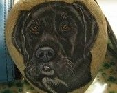 Custom Painted Rock portrait of Your Pets dog, cat Stone Painting - MADE TO ORDER -