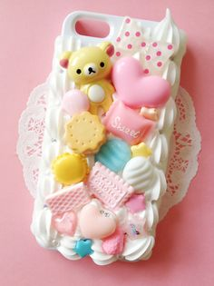 Cute Kawaii Iphone 5 Decoden Case by Minimou Kawaii Phone Case, Decoden Phone Case, Diy Phone Case, Cute Phone Cases, Iphone Cases, Iphone Phone, Kawaii Accessories, Cell Phone Accessories, Iphone 6s Plus