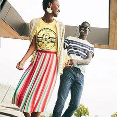 J.Crew: Sunburst Pleated Skirt In Watermelon Stripe For Women