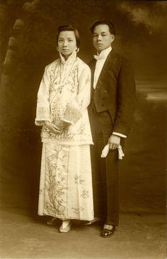 Wedding portrait of Yip Kew Gin and Choi Tsui Wah. 1914