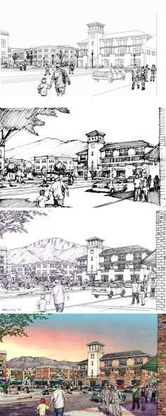 URS Corp, Austin, for El Paso, TX Urban Design project. Rendering process: Wireframe with entourage added, thumbnail study sketch, inked black and white drawing, colored rendering. Drawings by Bruce Bondy, Bondy Studio