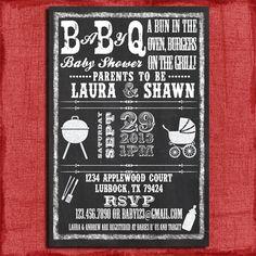 Printable Baby Q Bbq Shower Chalkboard Style 4x6 Or 5x7 Invitation Diy 15 00