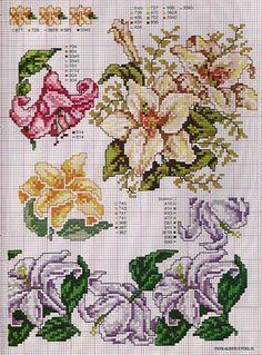 Gallery.ru / Фото #85 - Ботаника-цветы - irislena Cross Stitch Designs, Cross Stitch Patterns, Cross Stitching, Cross Stitch Embroidery, Rosa Shabby Chic, Flower Chart, Cross Stitch Boards, Theme Noel, Cross Stitch Flowers