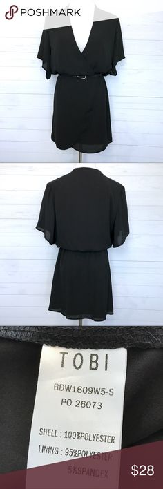 """Tobi Plunging Short Sleeve Dress Still in good condition. Size L. Lay Flat Measurement; pit to pit-19 1/2"""". Waist-14 1/2"""". Length Approx-34 1/2"""". Sleeve-9"""". Has a lining. Elastic waistband. Doesn't come with the belt. Black color (not Faded). Slightly butterfly Sleeve. No Trades. No low ball offers. Make a reasonable offer. Tobi Dresses Mini"""