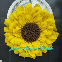 This Large Burlap Sunflower is sure to delight!  Year round wreath, Everyday wreath, Spring wreath, Summer Wreath, Mother's Day, Fall wreath