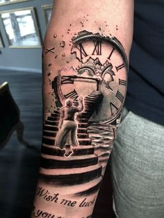 Stairs Clock Tattoo by Roberto. Limited availability at Redemption Tattoo Studio… Stairs Clock Tattoo by Roberto. Limited availability at Redemption Tattoo Studio. Time Clock Tattoo, Clock Tattoo Sleeve, Best Sleeve Tattoos, Tattoo Sleeve Designs, Tattoo Designs Men, Clock Tattoos, Daddy Tattoos, Time Tattoos, Arm Tattoos For Guys