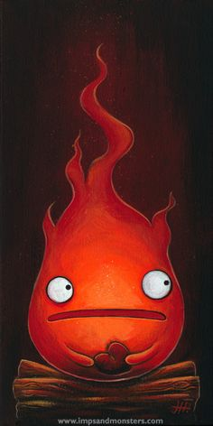 """6″ x 12″ acrylics on canvas. 2012. This piece was created for the April 2013 """"Icons and Influences"""" show at Ltd Gallery in Seattle. This is a tribute to Hayao Miyazaki's (Studio Ghibli) Calcifer, the fire demon from """"Howl's Moving Castle"""". Calcifer is my favorite character from """"Howls…"""" and the book (upon which the film …"""