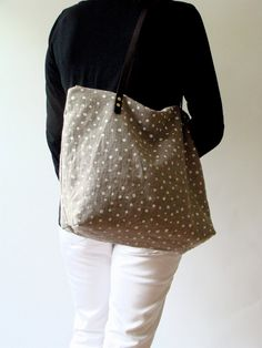 Polka Dot Screen Print Natural Linen Weekender by MilkhausDesign, $112.00